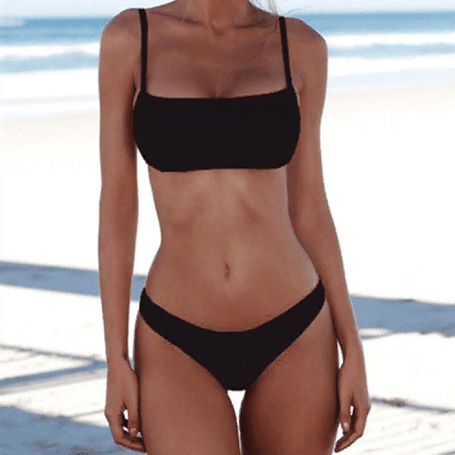 Solid Sexy Two-Piece Swimsuit Black