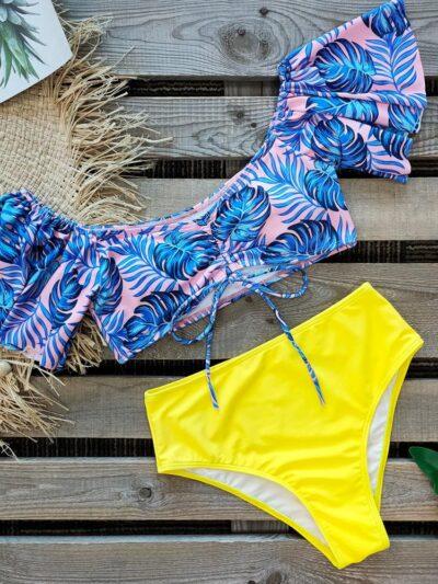 Yellow Ruffle High Waist Women Swimsuit