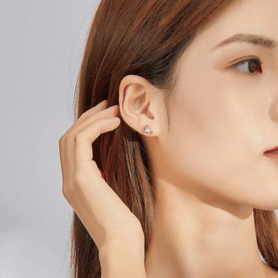 Gold Moon Opal Stud Earrings for Women