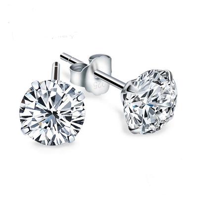 Crystal Zircon 925 Sterling Silver Stud Earrings