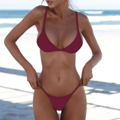Solid Sexy Two-Piece Swimsuit Wine Red