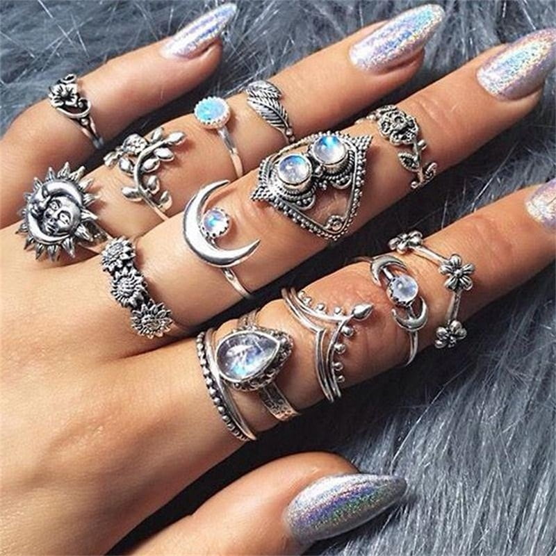 Women Bohemian Vintage Silver Ring Set