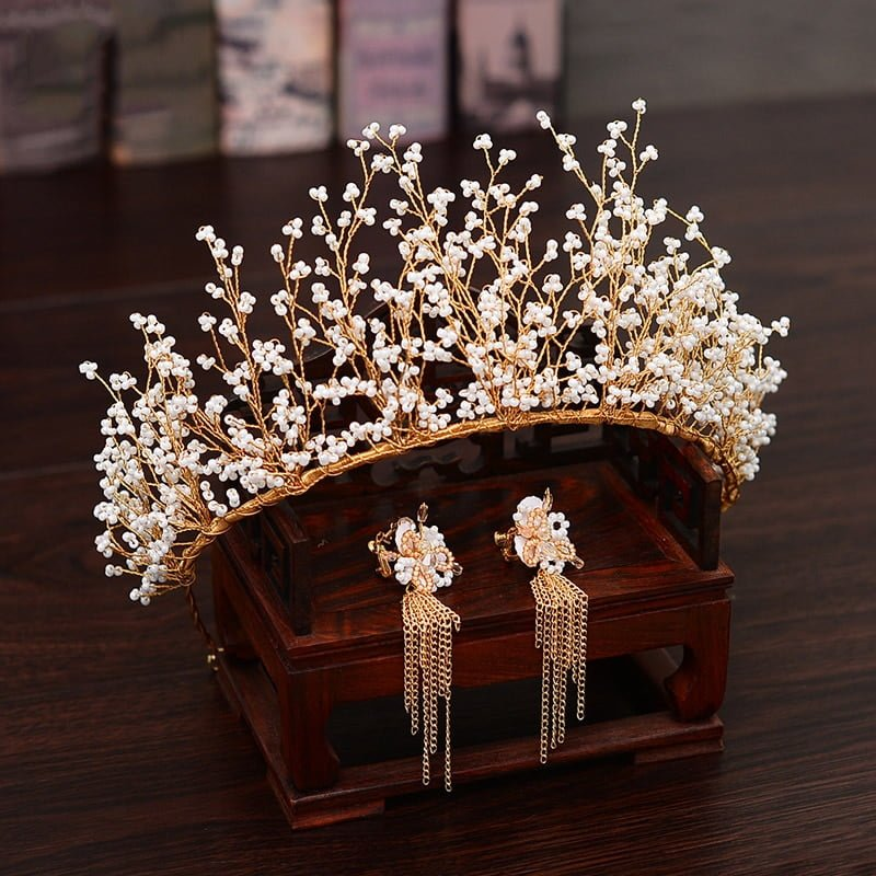 Gold Wedding Tiara Crown Set
