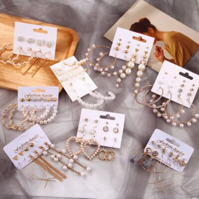 Women Pearl Bohemian Earring Set