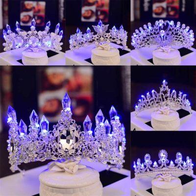 Glowing Bridal Rhinestone Tiara Crown
