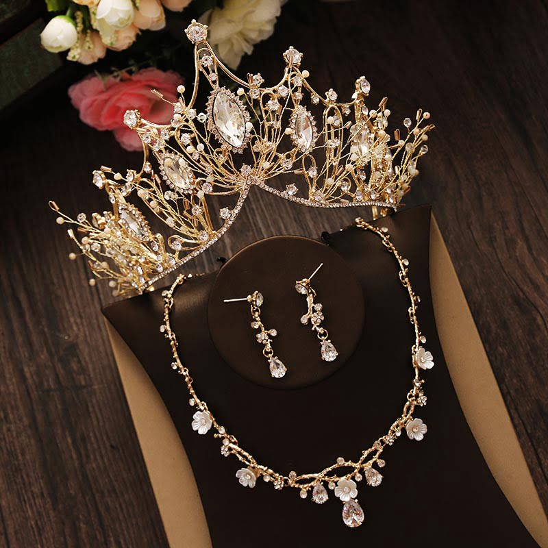 Bridal Rhinestone Crystal Gold Jewelry Set