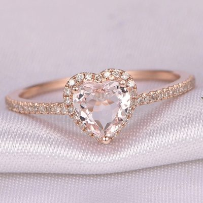 Rose Gold Crystal Heart Wedding Ring