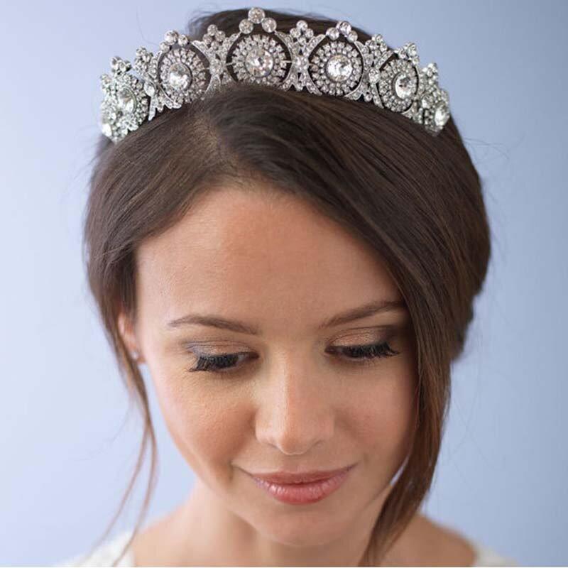HUPPLIE Rose Gold Crystal Bride Tiara