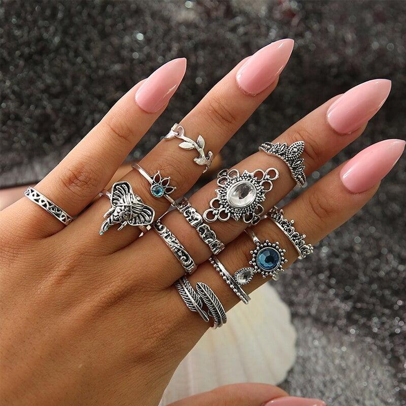 Women Bohemian Vintage Silver Ring Set