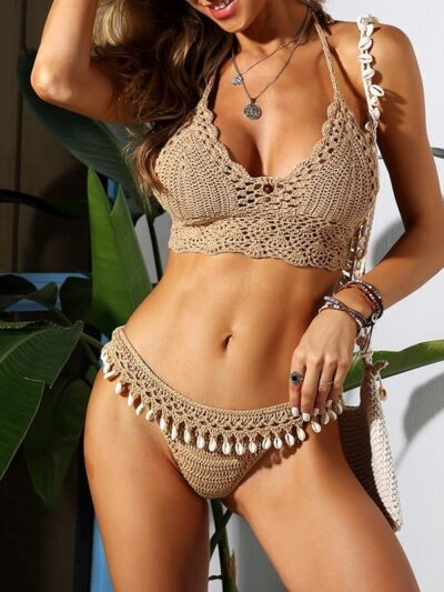 Women Knitted Crochet Swimsuit