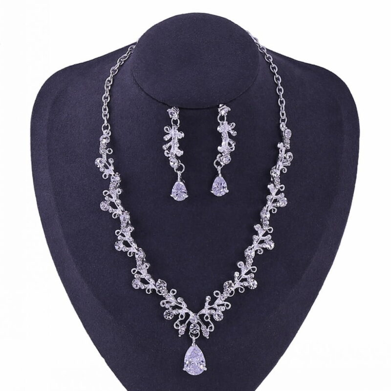 Luxury Noble Crystal Leaf Bridal Jewelry Sets Rhinestone Crown Tiaras Necklace Earrings Set for Bride African Beads Jewelry Set.