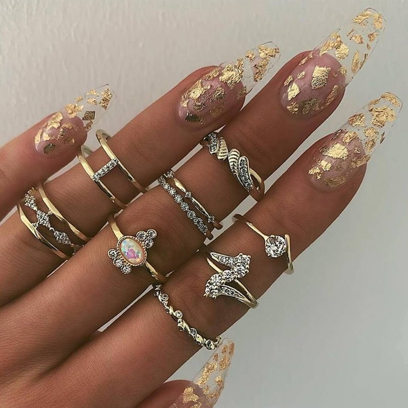 11 Pcs Bohemia Crystal Ring Set