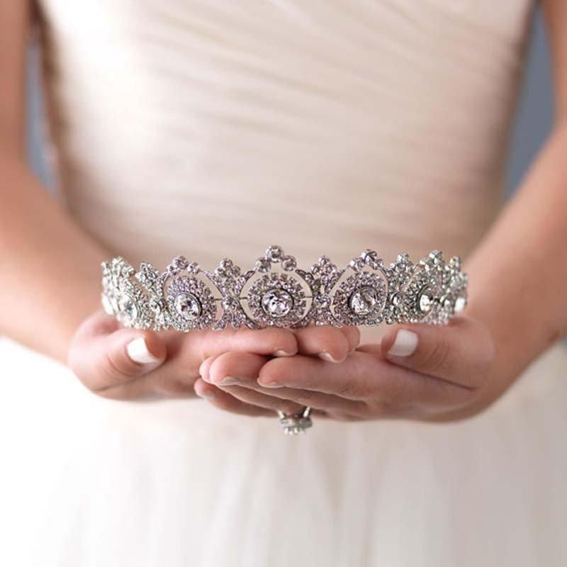 HUPPLIE Silver Crystal Bride Tiara