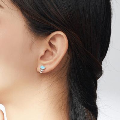 Cat Sterling Silver Opal Stud Earrings